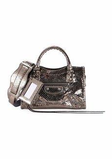 Balenciaga Metallic Edge Mini City AJ Snake-Embossed Bag