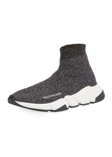 Balenciaga Metallic Knit High-Top Sock Sneakers
