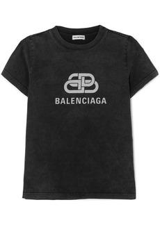 Balenciaga Metallic Printed Cotton-jersey T-shirt