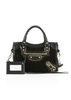 Balenciaga Mini City Faux Shearling & Leather Satchel