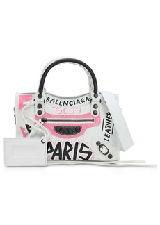 Balenciaga Mini City Graffiti  Leather Bag