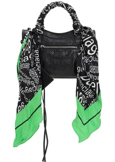 Balenciaga Mini City Printed Silk Scarf Leather Bag