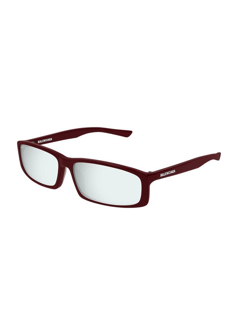 Balenciaga Mirrored Rectangle Acetate Sunglasses