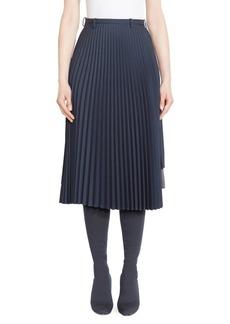 Balenciaga Mixed-Pleat Midi Skirt