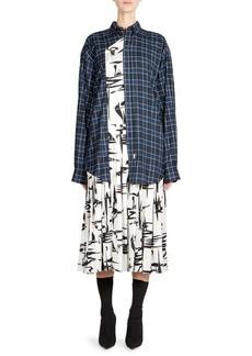 Balenciaga Mixed Print Layered Midi Dress