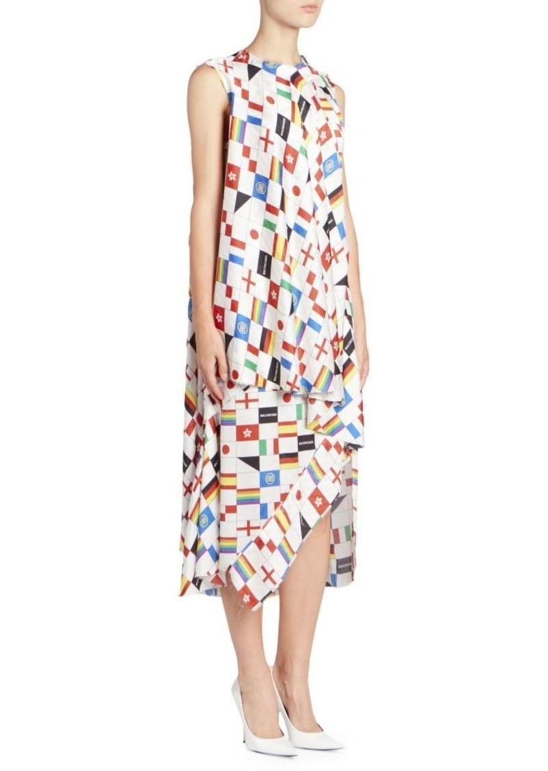 Balenciaga Multi-Flag Print Sleeveless Silk Dress