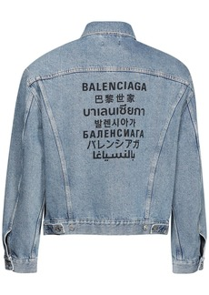 Balenciaga Multi Language Logo Print Denim Jacket