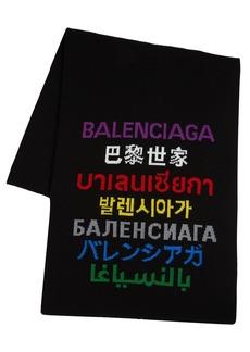 Balenciaga Multi Languages Logo Wool Blend Scarf