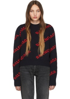 Balenciaga Navy & Red Cropped Logo Sweater