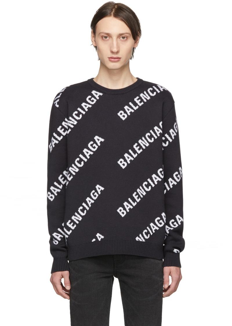 Balenciaga Navy & White Jacquard Logo Sweater