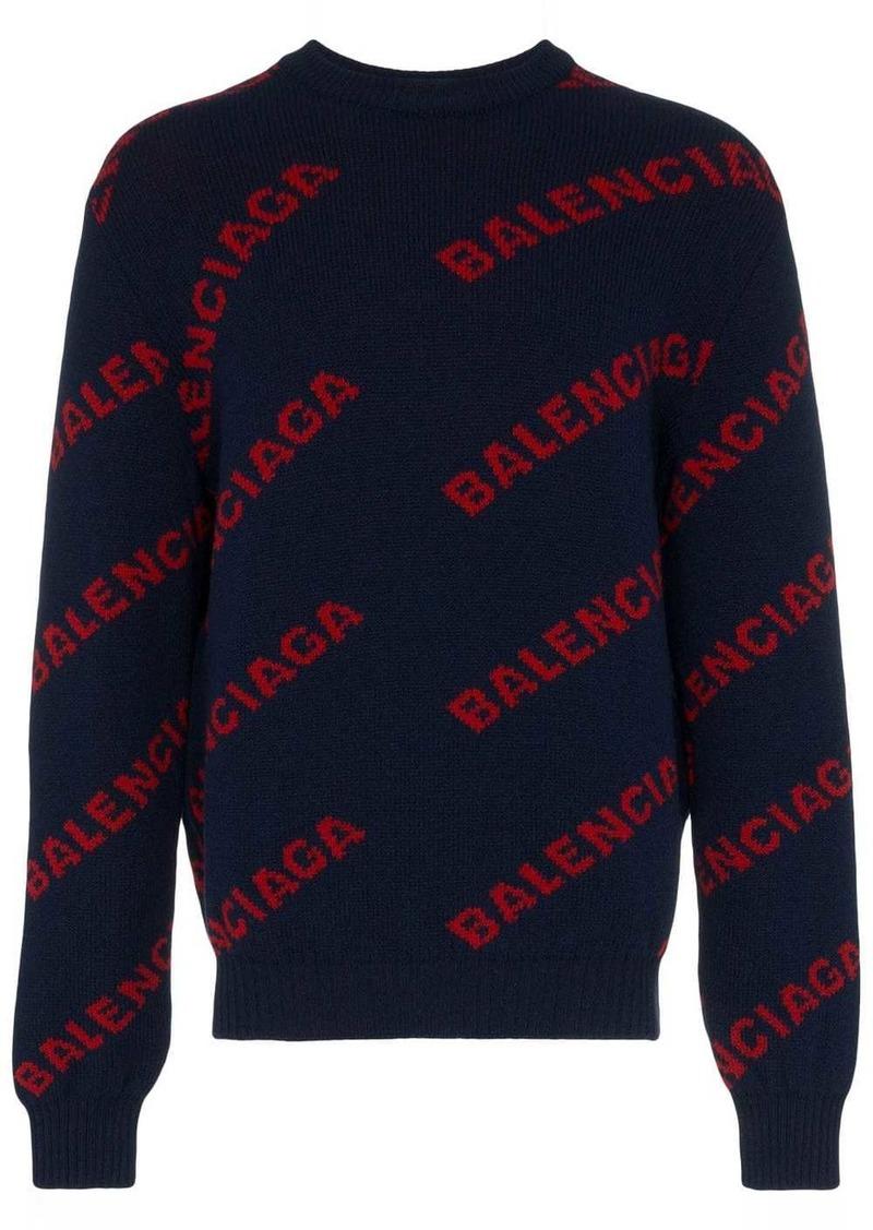 Balenciaga navy blue logo knitted wool jumper