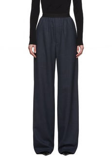 Balenciaga Navy Wool Prince Of Wales Trousers
