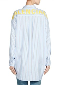 Balenciaga New Swing Button-Down Logo Blouse