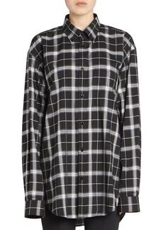 Balenciaga New Swing Plaid Button Down Shirt