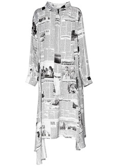 Balenciaga Newspaper Print Light Satin Dress