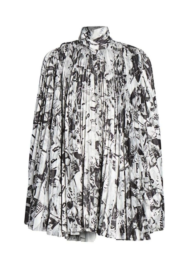 Balenciaga Newspaper Print Pleated Dress