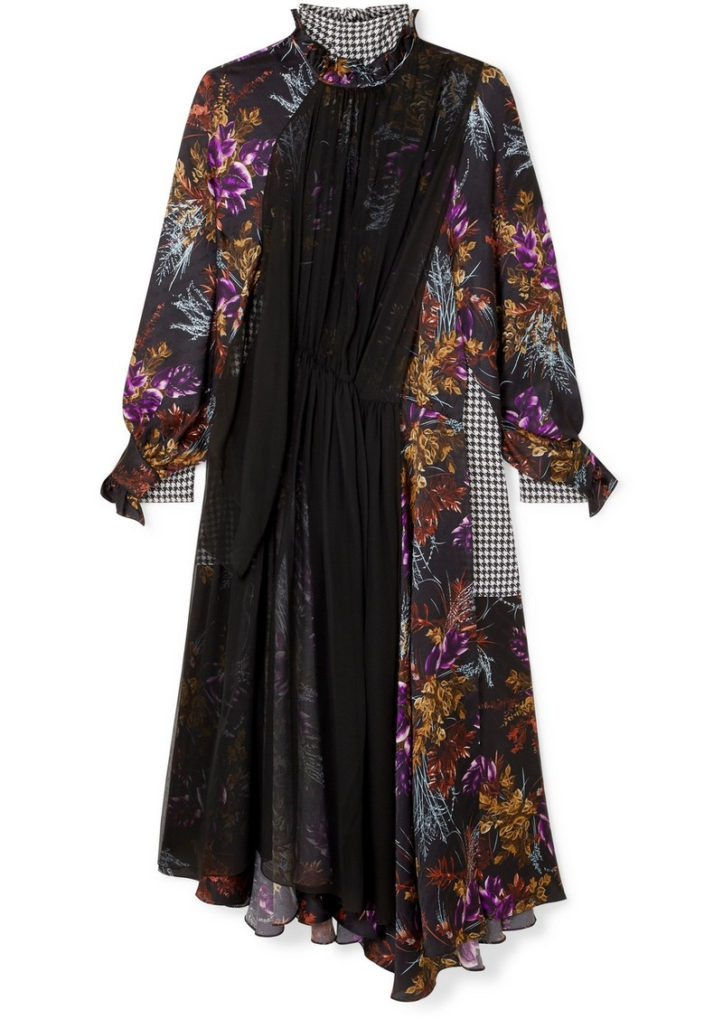 Balenciaga Night Leaves Bow-detailed Layered Silk-jacquard, Crepe And Silk-chiffon Dress