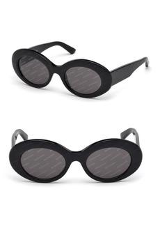 Balenciaga 51MM Oval Acetate Logo Sunglasses
