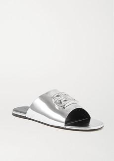 Balenciaga Oval Bb Logo-embellished Mirrored-leather Slides