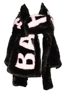 Balenciaga Oversize Faux-Fur Logo Scarf
