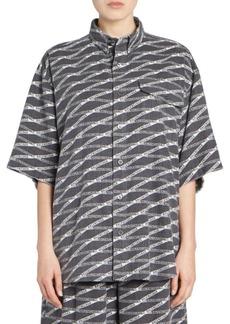 Balenciaga Oversize Flannel Logo Shirt