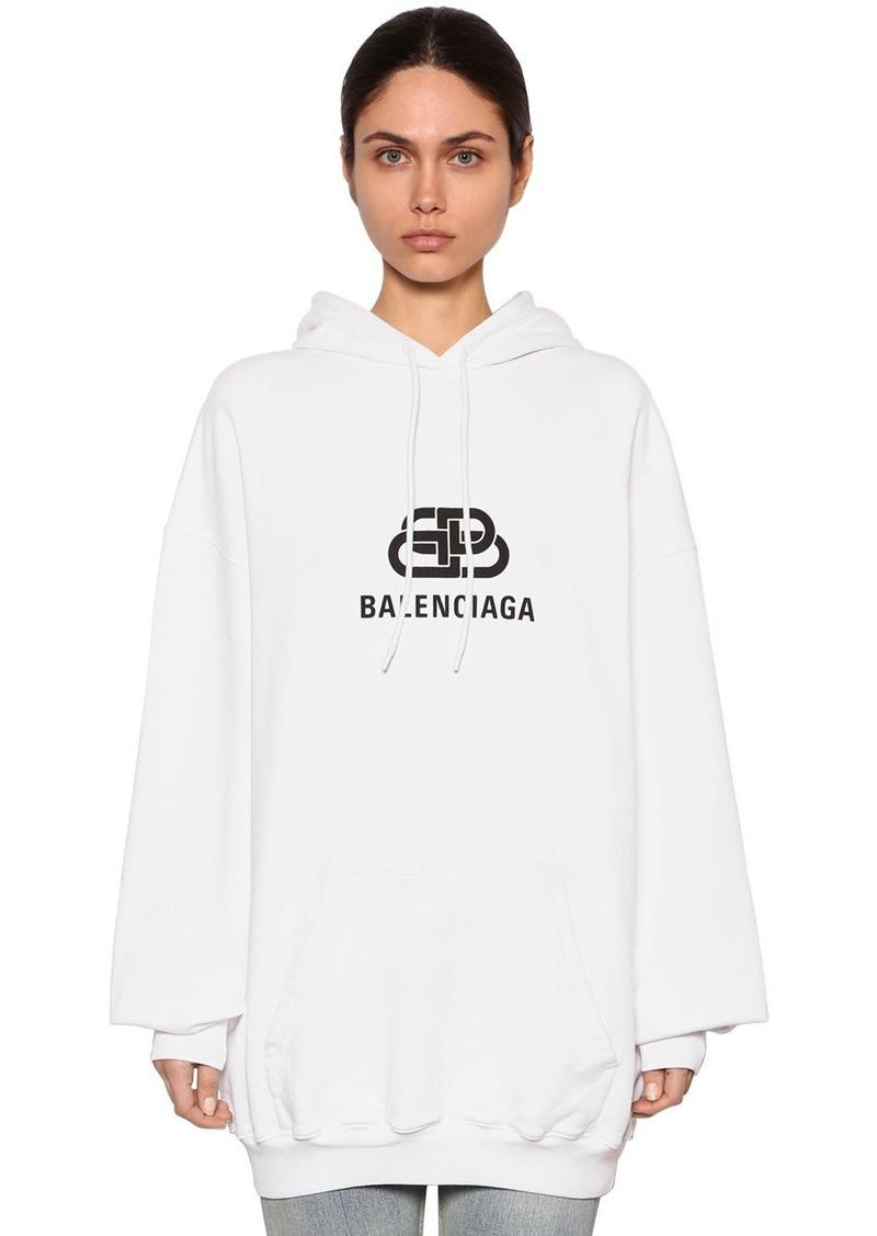 Balenciaga Oversize Logo Cotton Sweatshirt Hoodie