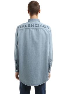 Balenciaga Oversized Back Logo Cotton Denim Shirt
