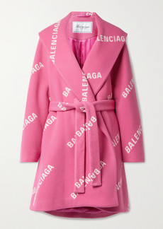 Balenciaga Oversized Belted Printed Wool Cashmere And Silk-blend Coat