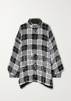 Balenciaga Oversized Checked Sequined Tulle Shirt
