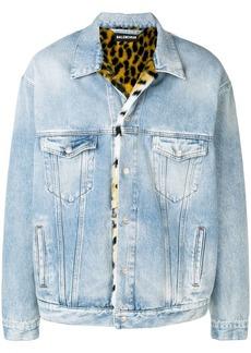 Balenciaga Oversized denim fur jacket