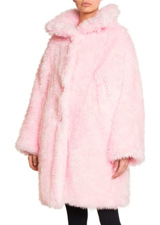Balenciaga Oversized Fluffy Faux-Fur Swing Coat