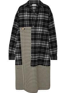 Balenciaga Oversized Paneled Houndstooth And Checked Wool Midi Dress