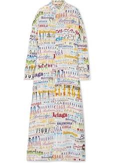 Balenciaga Oversized Printed Silk Crepe De Chine Maxi Dress