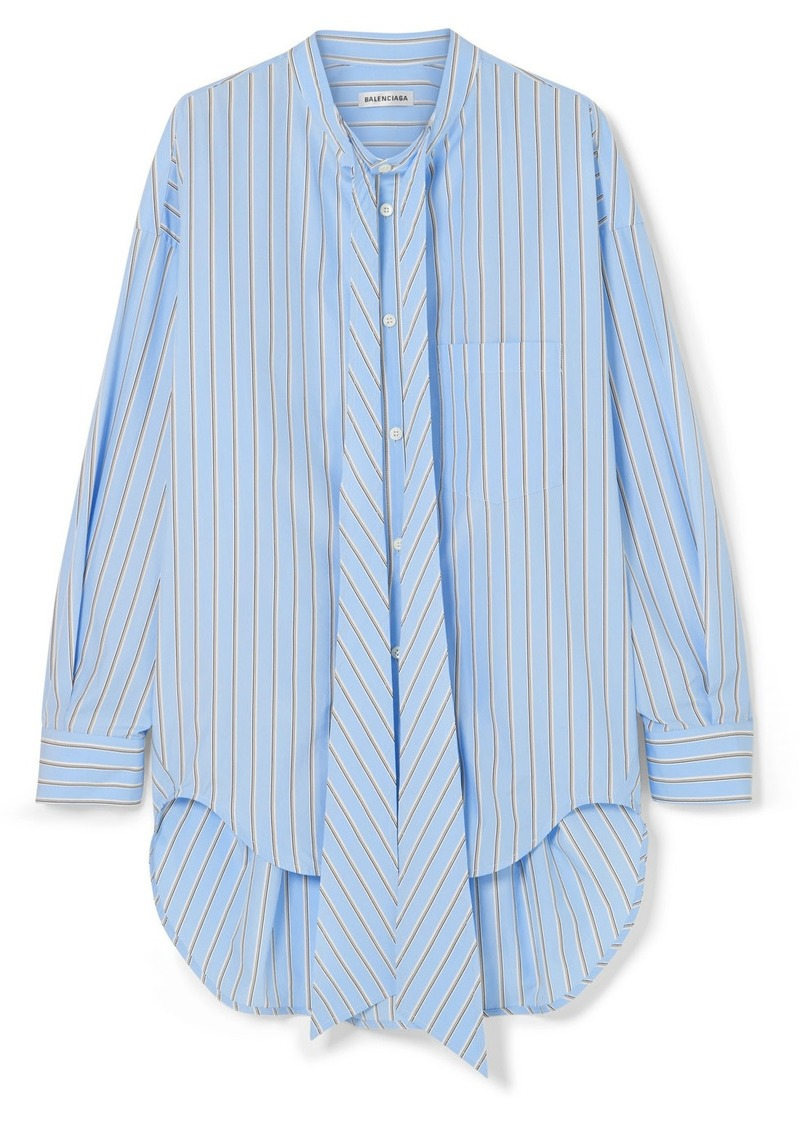 Balenciaga Oversized Printed Striped Cotton-poplin Shirt