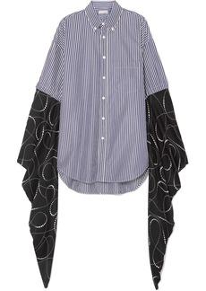 Balenciaga Oversized Striped Cotton-poplin And Printed Silk-georgette Shirt