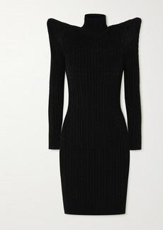 Balenciaga Pagoda Cable Knit-effect Velvet Turtleneck Midi Dress