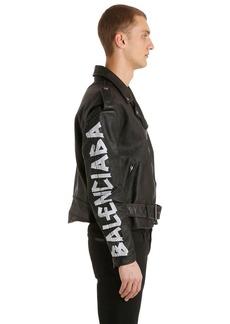 Balenciaga Painted Effect Leather Biker Jacket