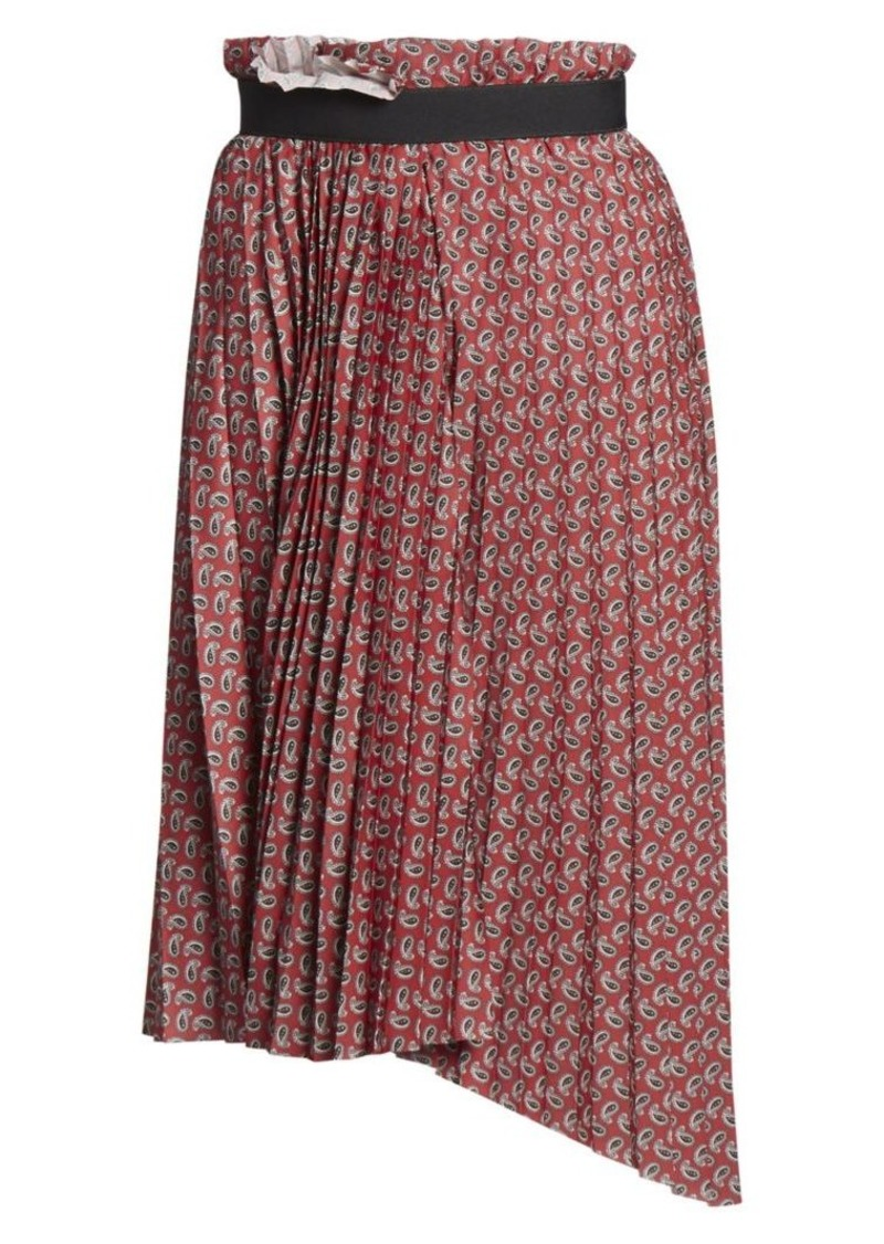 Balenciaga Paisley Pleated Asymmetric Skirt