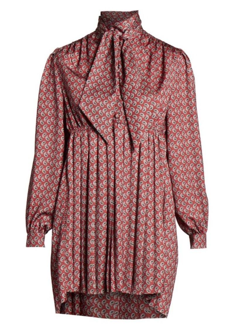 Balenciaga Paisley Satin Tieneck Babydoll Dress