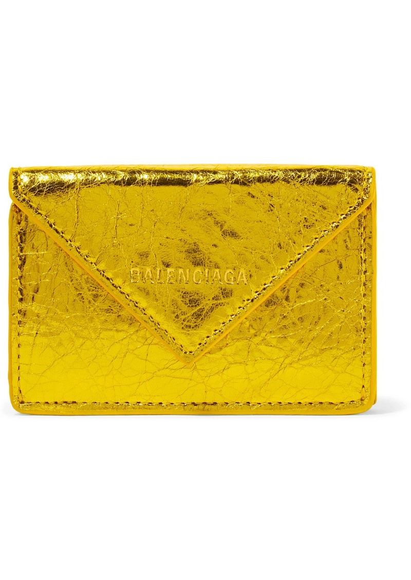 Balenciaga Papier Mini Printed Metallic Crinkled-leather Wallet