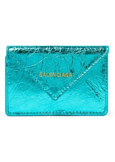 Balenciaga Papier Mini Printed Metallic Crinkled-leather Wallet
