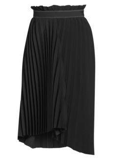 Balenciaga Paperbag-Waist Pleated Asymmetric Midi Skirt