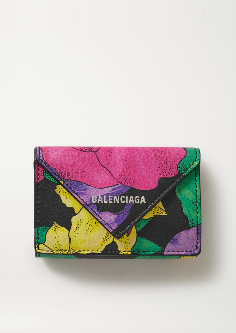 Balenciaga Papier Floral-print Textured-leather Cardholder