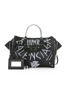 Balenciaga Papier Graffiti Zip-Around A6 Leather Tote