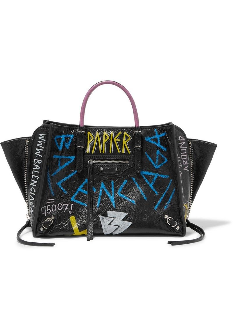 Balenciaga Papier Za A6 Graffiti Printed Textured-leather Tote