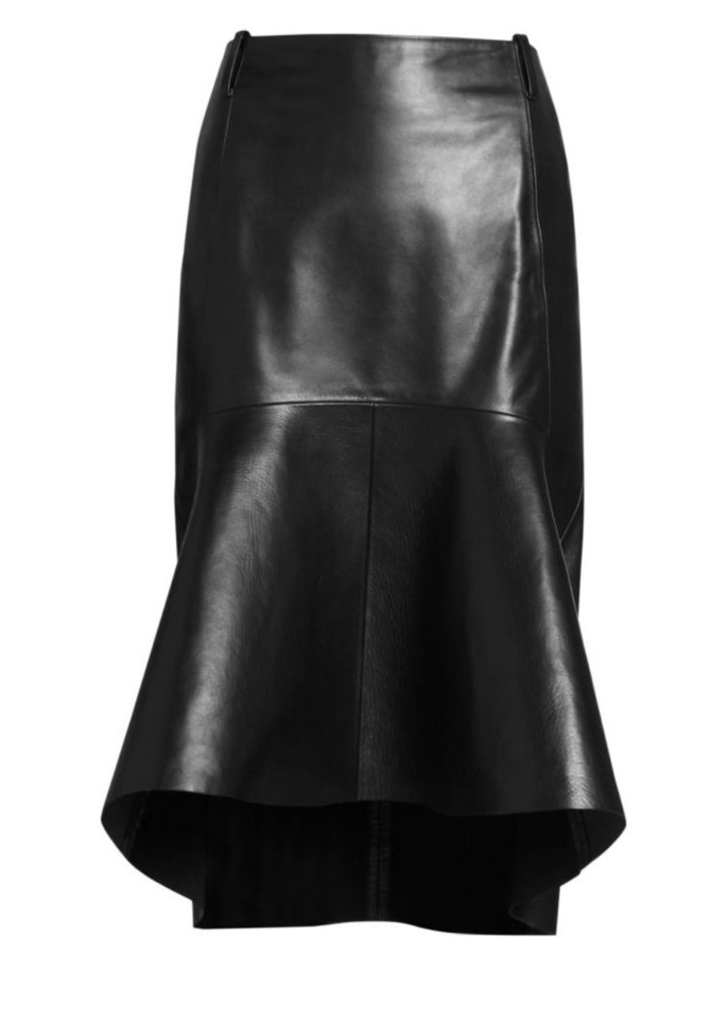 Balenciaga Peplum-Hem Leather Skirt