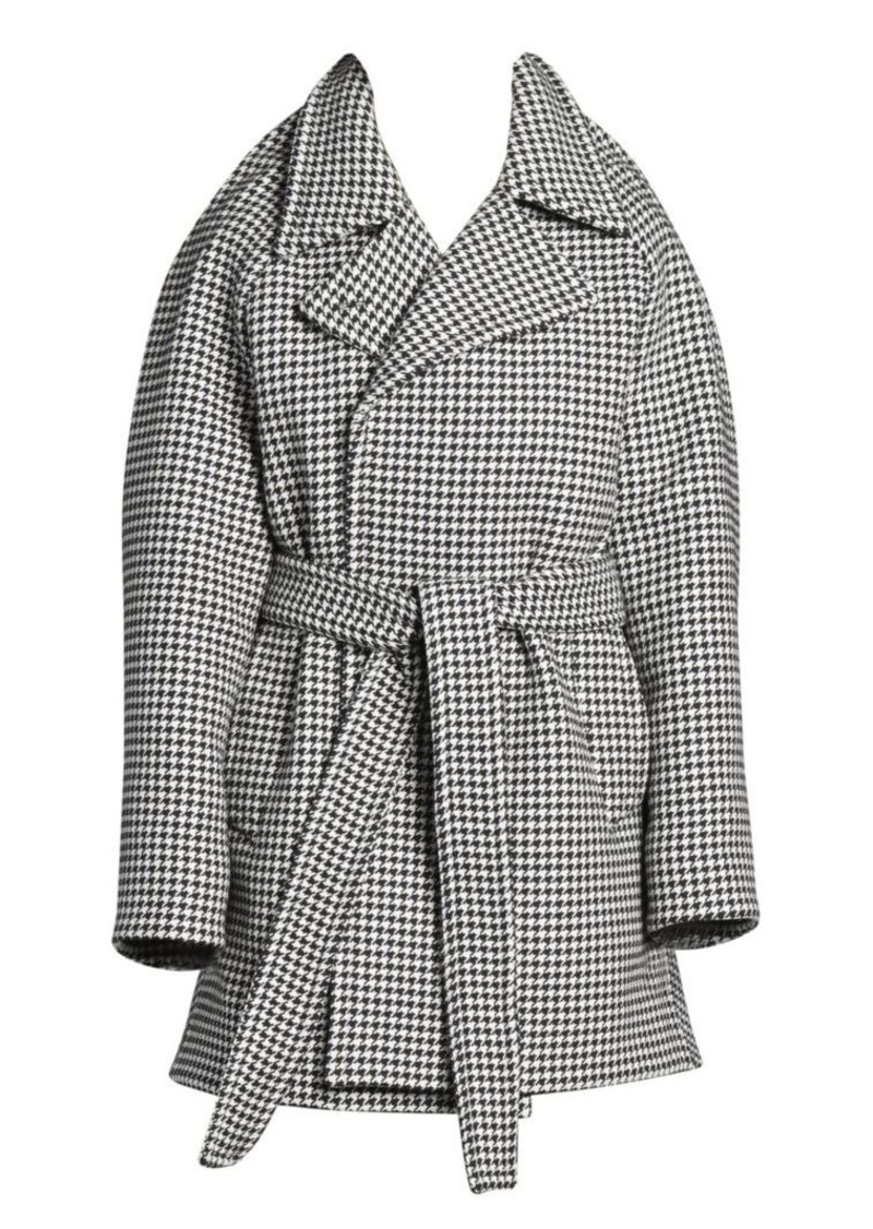Balenciaga Pinched Houndstooth Wool & Cashmere Wrap Jacket