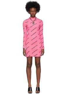 Balenciaga Pink Diagonal Logo Dress