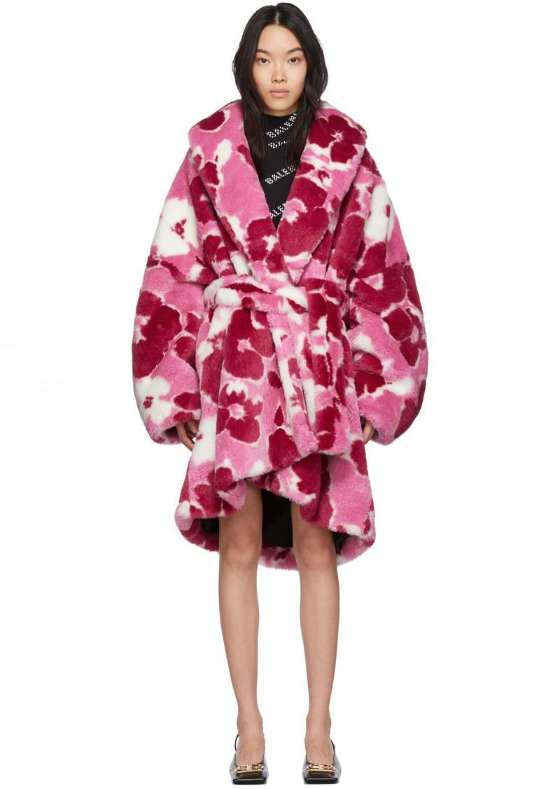 Balenciaga Pink Fluffy Peony Cocoon Wrap Coat