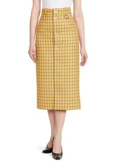 Balenciaga Plaid Wool Midi Pencil Skirt